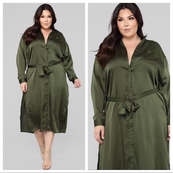 512dda9c Fashion Nova Dresses | Curve Satin Shirt Dress | Poshmark